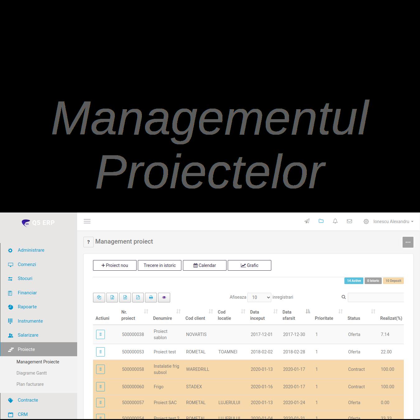 sistem erp q5 - managementul proiectelor